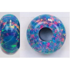 SYNTHETIC OPAL Round Rondelle - OP01 - Multi-Teal - 14x7mm
