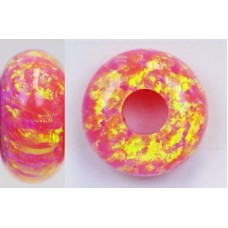 SYNTHETIC OPAL RONDELLE - OP07-Deep Sea Coral-14 X 7mm